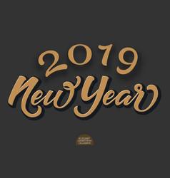 happy new 2019 year holiday volumetric vector image