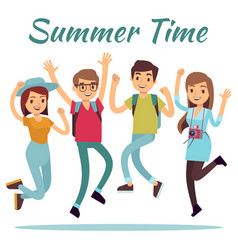 happy people summer time flat with jumping vector image