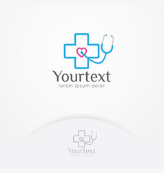 Health heart stethoscope logo design vector