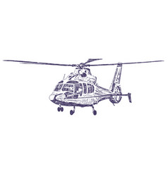 helicopter hand drawn vector image