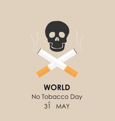 Human skull and quit tobacco signmay 31st world vector