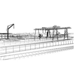 industrial zone with buildings and cranes vector image vector image