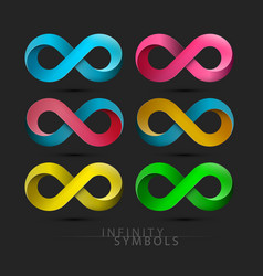 infinity symbols set colorful endless icons on vector image