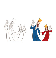 king and queen with cups vector image