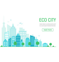 landing page ecological green city panorama green vector image