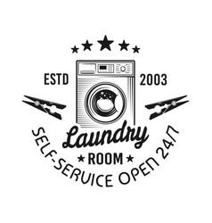 laundry room emblem label badge or logo vector image