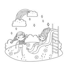 little girls with swimwear on slide in the vector image