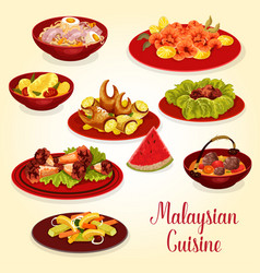 Malaysian cuisine icon of meat and seafood dish vector