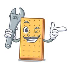 Mechanic graham cookies mascot cartoon vector