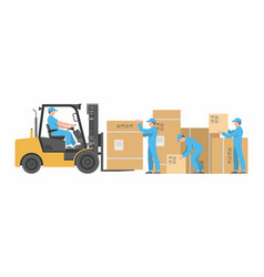Men loading boxes on forklift vector
