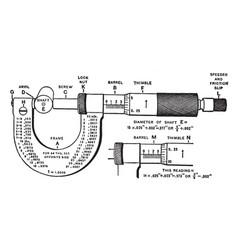 Micrometer caliper vintage vector
