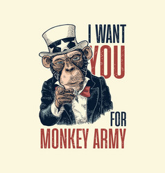 Monkey uncle sam with pointing finger at viewer vector