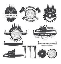 Monochrome labels set with lumberjack and pictures vector