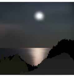 Moon path on the sea at night vector image