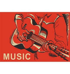 Musician playing guitar poster vector