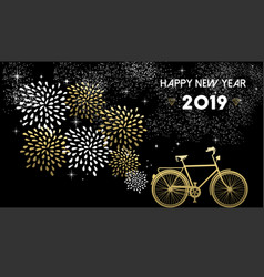 new year 2019 bike gold firework night star vector image