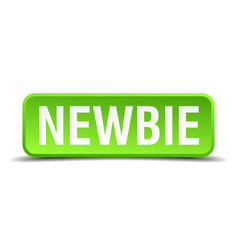 newbie green 3d realistic square isolated button vector image