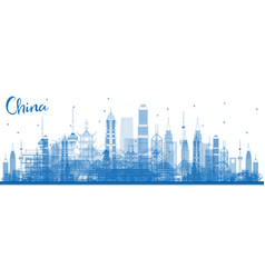 outline china city skyline famous landmarks in vector image