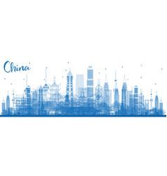 Outline china city skyline famous landmarks in vector