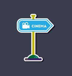 Paper sticker on stylish background cinema sign vector