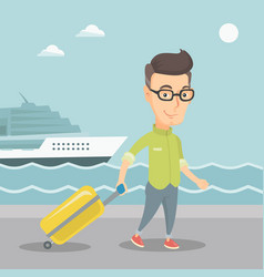 Passenger going to shipboard with suitcase vector