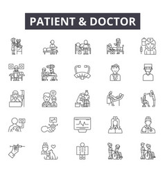 Patient and doctor line icons signs set vector