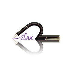 Pen writing of a word love sketch with red paste vector