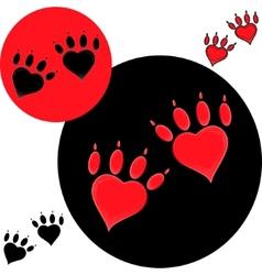 Pet heart logo dog paw logo zoo shop vector