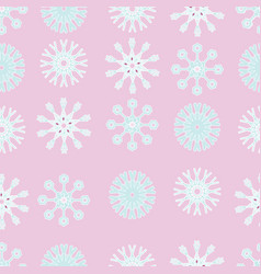 pink and blue snowflakes christmas seamless vector image