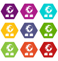 planet and two folders icon set color hexahedron vector image