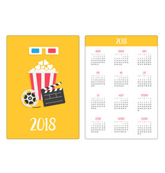 pocket calendar 2018 year week starts sunday 3d vector image