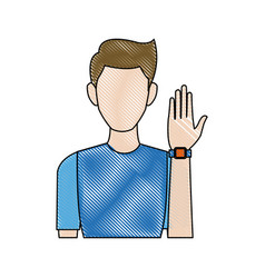 Portrait young man wear wearable technology icon vector