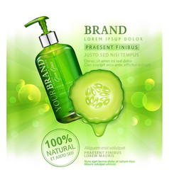 realistic green transparent bottles 3d with soap vector image