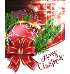 Red bow and Christmas bauble vector image vector image