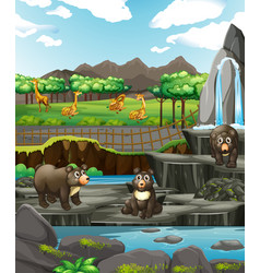 Scene with animals at zoo vector