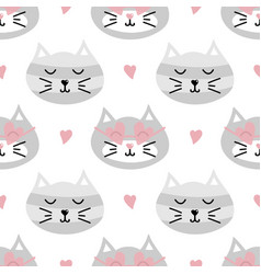 Seamless pattern background with cute cats vector