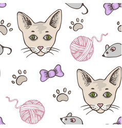 seamless pattern with cat vector image
