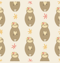 seamless pattern with cute sloths inflower wreaths vector image
