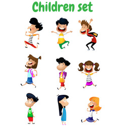 set of fun cartoon children vector image