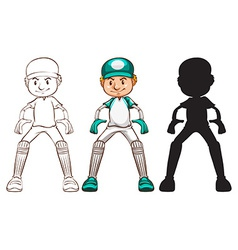 Sketches of a cricket player in different colours vector image