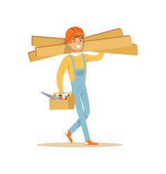 Smiling carpenter carrying box of tools and wooden vector
