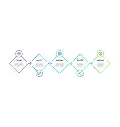 Step line infographic 5 square presentation vector