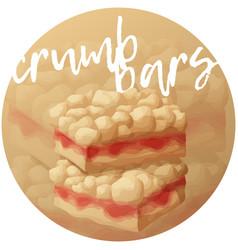 strawberry crumb bars pastry cartoon vector image