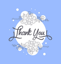 thank you card with handwritten inscription vector image