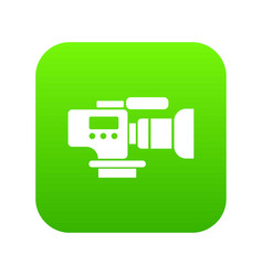 tv camera icon green vector image
