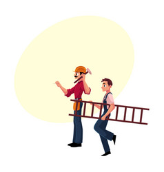 two construction workers - one driving nail vector image