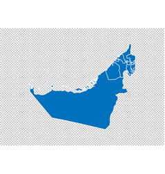 united arab emirates map - high detailed blue map vector image