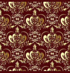 vintage gold royal damask seamless pattern on the vector image