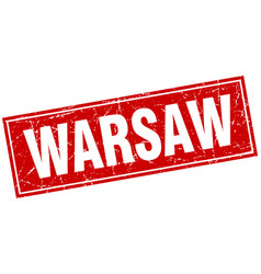 Warsaw red square grunge vintage isolated stamp vector