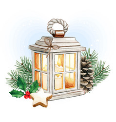 watercolor christmas lantern with candles vector image